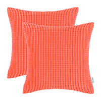 "2Pcs Living Coral Throw Pillows Covers Corn Corduroy Striped Sofa Decor 26 x 26"""