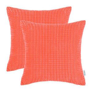 "2Pcs Living Coral Throw Pillows Covers Corn Corduroy Striped Sofa Decor 24 x 24"""