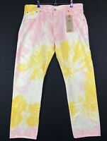 Levis 501 '93 Straight Tie Dye Jeans Men's SZ 34x32 Button Fly White Yellow Pink