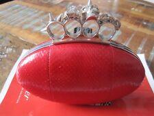 Raro ALEXANDER McQUEEN Oval De Cuero Rojo Caja de nudillo Calavera Bolso sin asas Bolso de mano