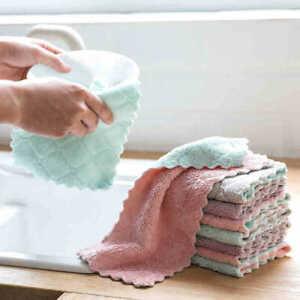 Dish Cloth Kitchen Microfiber Absorbent Towel Cleaning Towels Cloths Pack 10PCS