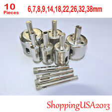 10pcs 6-38mm Diamond coated tool drill bit hole saw glass ceramic marble tile