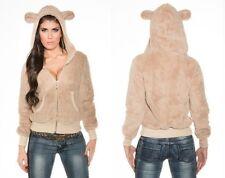 Felpa BEIGE donna inverno con orecchie da orso orsetto BEIGE kawaii taglia L/XL