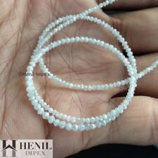 """13.00 Cts Natural White Polished Faceted Loose Diamond Beads 16"""" Strand Necklace"""