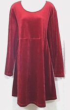 Dan Howard Maternities Stretch Red Velour Dress Wmn's Sz XL Scoop Neck Lng Slv