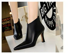 Zip Up Ankle Boots Ladies Pointy Toes PU Leather Block Heel Autumn UK7 Sz40