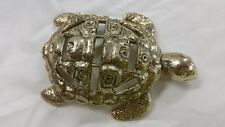 "Hammered Metal Gold Tone Turtle Paperweight Decoration Cut Out Design 5.5""X3.5"""
