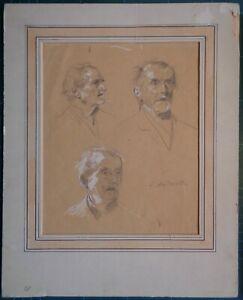 ANDREOTTI FEDERICO (1847-1930) STUDIO VOLTI MASCHILI SENILI firma in basso a dx