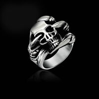 Fashion Men Stainless Steel Silver Skull Gothic Punk Biker Finger Rings Jewelry