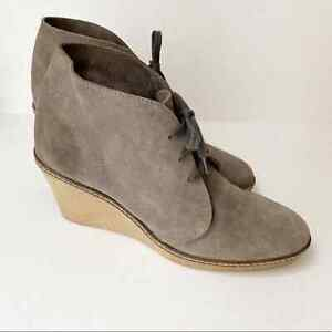 J. Crew 10 Genuine Italian Suede Wedge Booties MacAlister Green Brown Lace Up