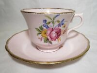 Vintage Royal Vale Colclough Pink Footed Tea Cup Saucer Set Floral Gold Trim