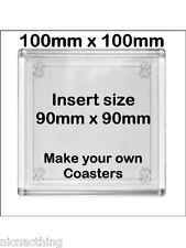 8 Blank Acrylic Drink Coasters 100mm Sq. N1 Size. Make Your Own Coasters