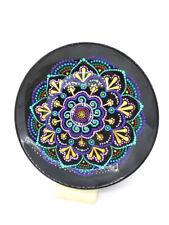 Wall hanging mandala decorative plate Dot art mandala with flower Yoga gift