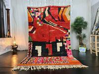 "Moroccan Tribal Boujaad Handmade Carpet 5'2""x8'7"" Berber Patchwork Red Wool Rug"