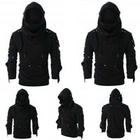 Men Retro Mask Elbow Button Pullover Long Sleeve Hooded Sweatshirt Tops Blouse