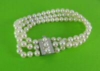 Armband Perlen 3-reihig 14 kt. / 585 Weiß Gold Schließe Zuchtperlenarmband Perle