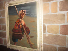 FEMALE WORKER / VINTAGE OIL WITH A HIDDEN IMAGE