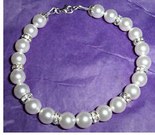 Custom Pearl and Crystal Bride Bridesmaid Prom Bracelet made with Swarovski
