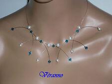 Collier étincelle blanc et bleu n°1, collier mariage.