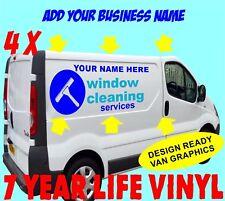 4 X Pegatina de limpieza ventana personalizada signo hace Van Vinilo Calcomanías signo de gráficos