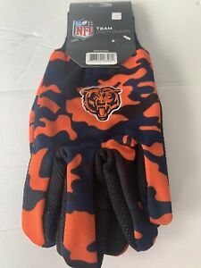 Nfl Team Utility Gloves Men Camouflage Blue & Orange Fits Most