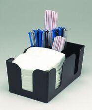 Black Plastic Bar Caddy Storage Napkin Straw Stirrer Condiment Pub Club Holder