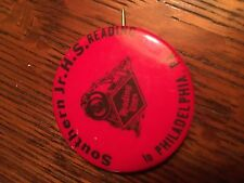 """VINTAGE READING LINES RR PIN 1 3/4"""" SOUTHERN JR HS TO PHILADELPHIA RED"""