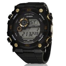 OHSEN Mens Military Style Waterproof Date Light Golden Sport Quartz Wrist Watch