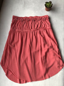 Women's Free People Neon Coral Striped Strapless Knit Top-Sz M