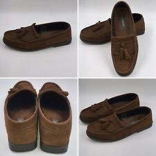 🌟Bally Size 8 42 Brown Suede Tassle College Loafers Shoes Mens Classic Preppy