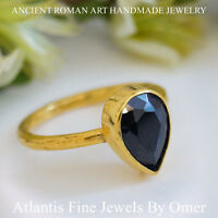 Sterling Silver Pear Onyx Topaz Ring 24k Gold Vermeil Handmade Jewelry by Omer