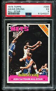 1975-1976 Topps Basketball #300 JULIUS ERVING New York Nets PSA 6 EX-MT