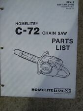 Homelite C-72 Power Chain Saw Illustrated Parts List See More In Our Store U