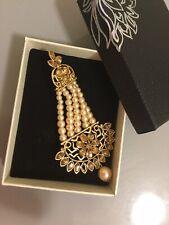 Ghazi's Indian Antique Champagne Kundan Pearl Jhumka Earrings In Gift Box