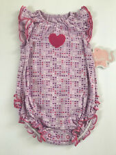 First Moments 6 Months Purple Heart Sunsuit Creeper Bodysuit Baby Girl Clothes