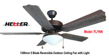 Heller 1300mm 5 Reversible Blade Ceiling Fan with Light 'FLYNN' Dark/Brown Wood
