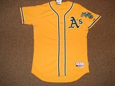 Oakland Athletics Yellow Cool Base Authentic Jersey sz 48 Majestic w/ Tags Gold