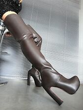 MORI LUXURY OVERKNEE PLATFORM BOOTS STIEFEL STIVALE LEATHER BROWN MARRONE 42