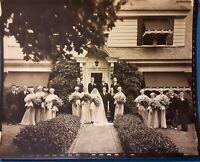 Vintage 1930's 8x10 Original Photo of Beautiful Bride Bridesmaid's WEDDING Dress