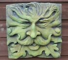 Large Square green man wall plaque frost proof stone 33cm sq