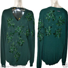 DOLCE & GABBANA D&G Crystal Beads Embellishment Vintage Green Cashmere Sweater