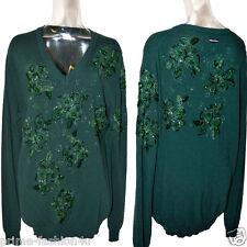 DOLCE & GABBANA D&G Crystal Beads Embellishment Vintage Green Cashmere Sweater