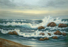"""Oil Painting of Seascape Seagull over Stormy Sea in Sunset 24x36"""" w/ Free Frame"""