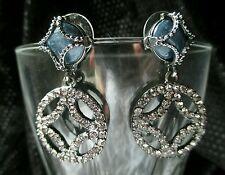 "Vintage Earrings Rhinestone blue Circle HOOP Silver tone Pierced Dangle 1½"" EUC"