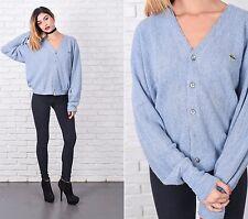 Vintage 70s 80s Blue Cardigan Sweater LACOSTE boyfriend oversize S M L