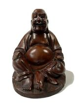 Vtg Large Smiling Chinese Buddha Wood Carved Statue Teeth Meditating, Good Luck