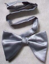 Vintage Bow Tie MENS Dickie Bowtie Adjustable SILKY SHINY SILVER GREY