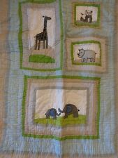 New Pottery Barn Brooks Animals Elephant Nursery Crib Quilt Bumper & Sham