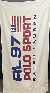 Rare Vintage RALPH LAUREN Polo Sport 1997 RL USA Flag Bath Beach Towel 97 Y2K