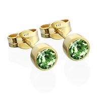 Paar Ohrstecker Gold 333er 4,50mm hellgrün Zirkonia Damen Herren Kinder 6605